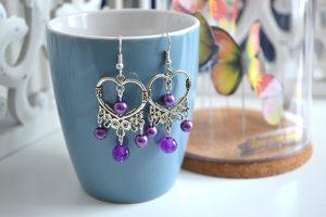 Métal argenté perles violet