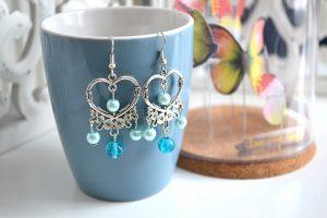 Métal argenté perles bleu