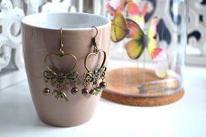 Métal bronze perles marron
